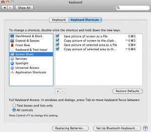 Mac OS X sacture screen shortkey
